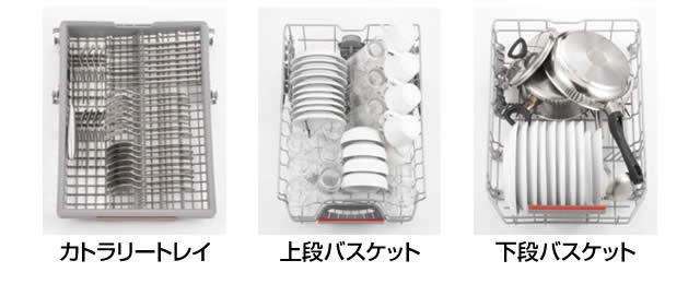 BOSCH ビルトイン食洗機 幅45cmモデルでの収納例 洋食器