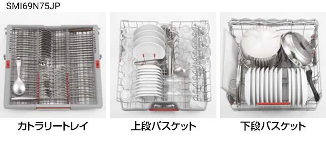 BOSCH ビルトイン食洗機 幅60cmモデルでの収納例 洋食器