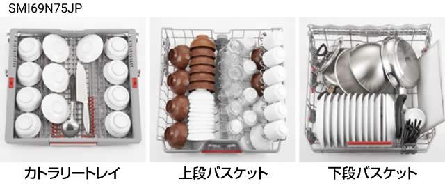 BOSCH ビルトイン食洗機 幅60cmモデルでの収納例 和食器